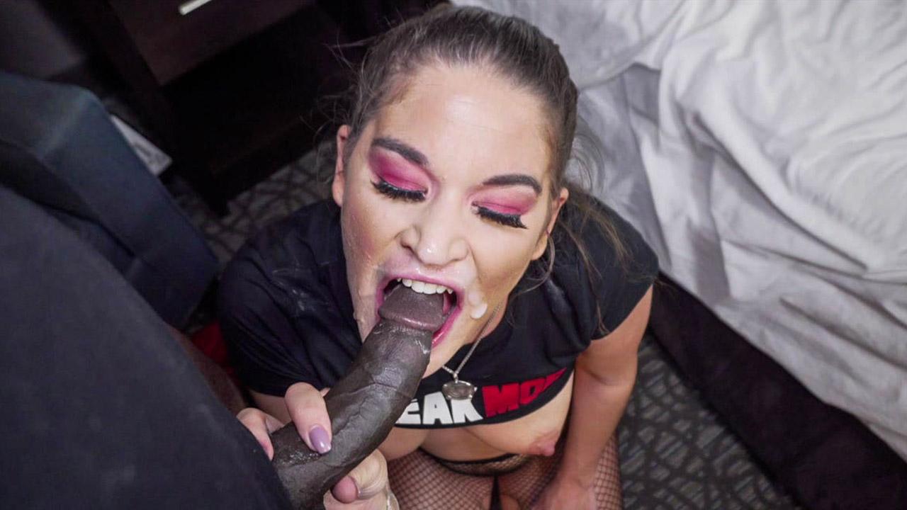 Brunette Babe Bounces On Black Cock