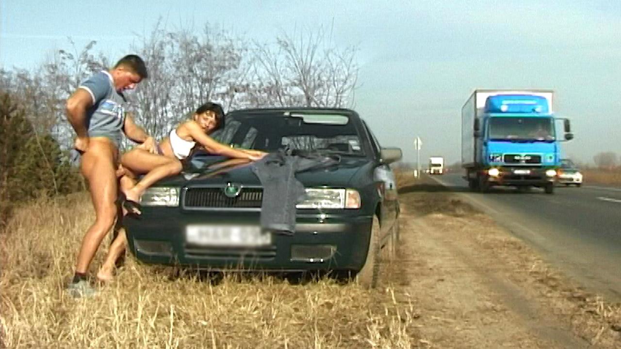 Brunette Gets Drilled Next To Highway