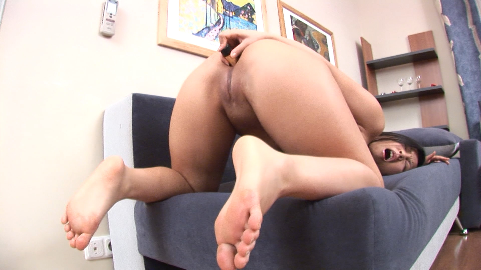 Brunette Slut Loves Dildo In Ass
