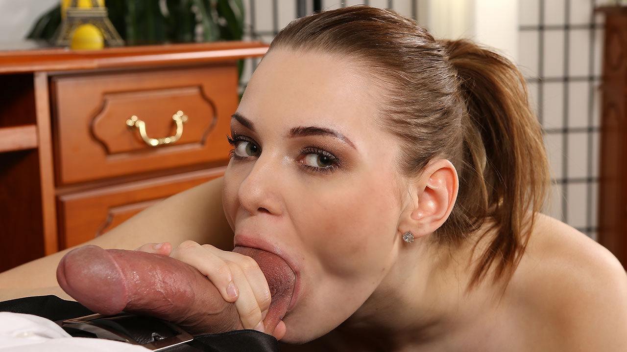 Brunette Teen Takes Messy Facial After Blowjob