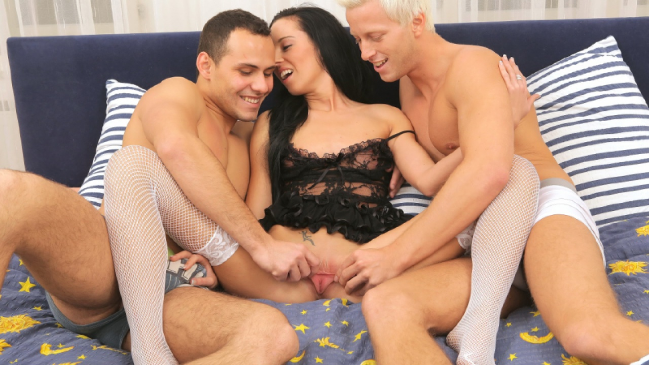 Cumslut In Stockings Blows Two Studs