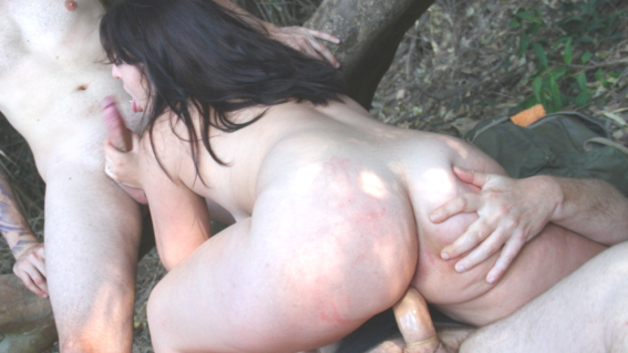 Hardcore Forest Threesome With Slutty Brunette