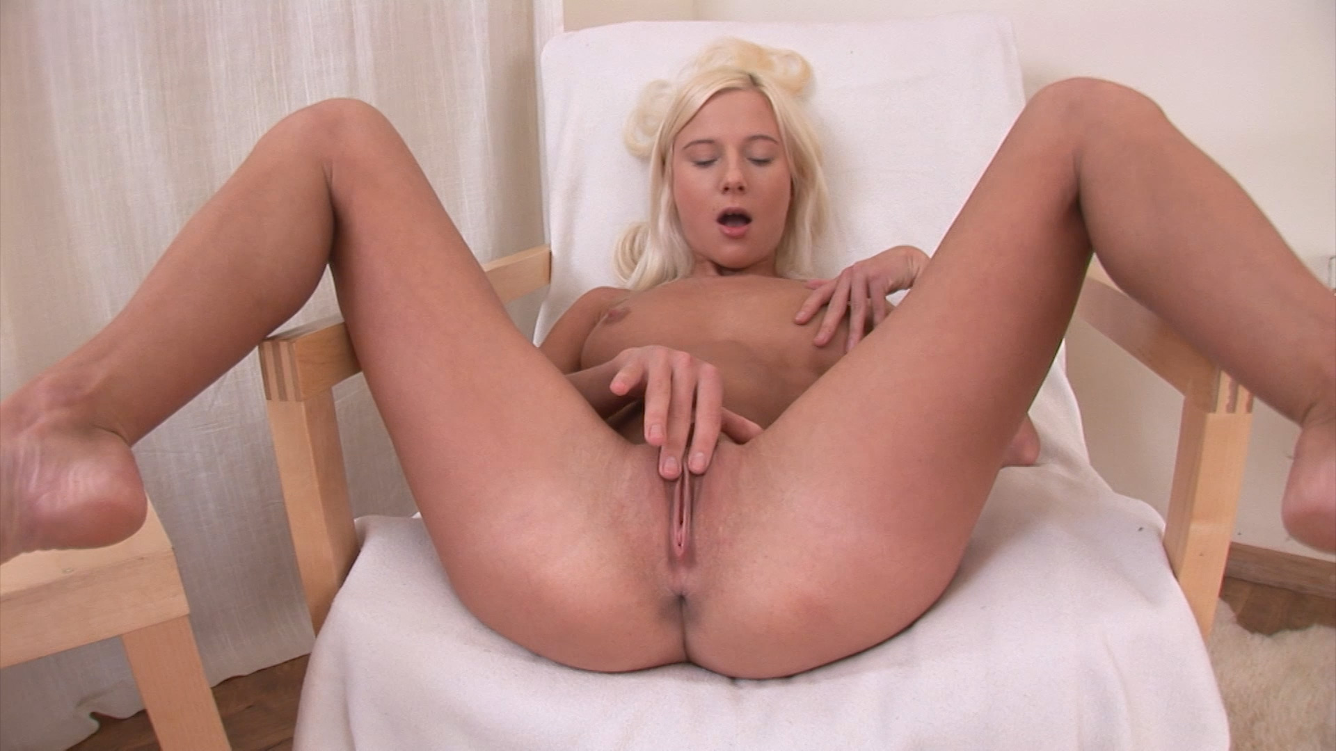 Horny Blonde Fucks Herself With Big Black Dildo