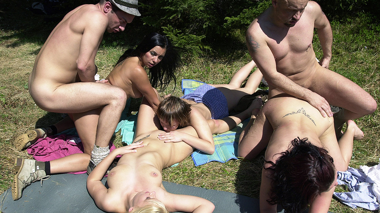 Outdoor Orgy With Busty Babes