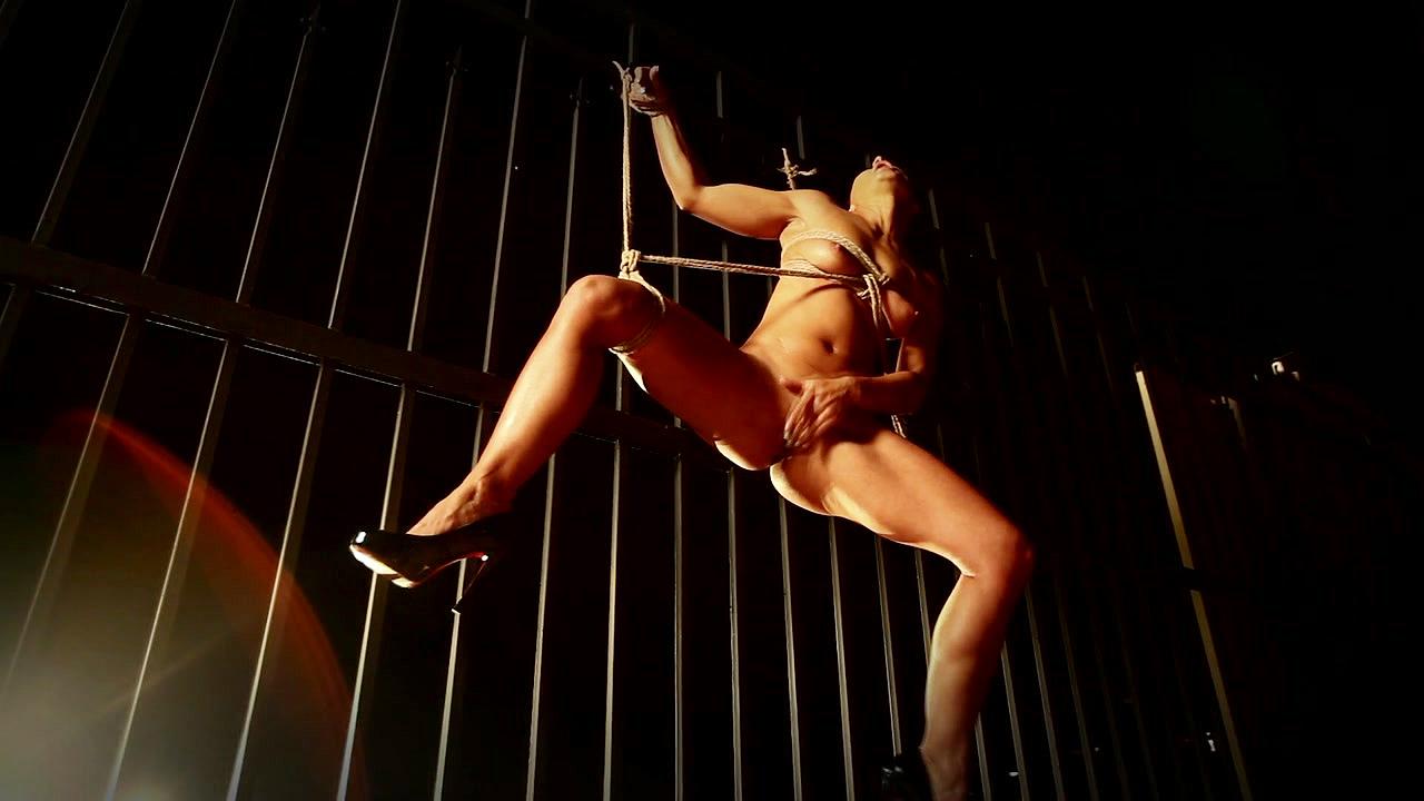 Sandra Romain In Black Leather Solo Bondage Masturbation