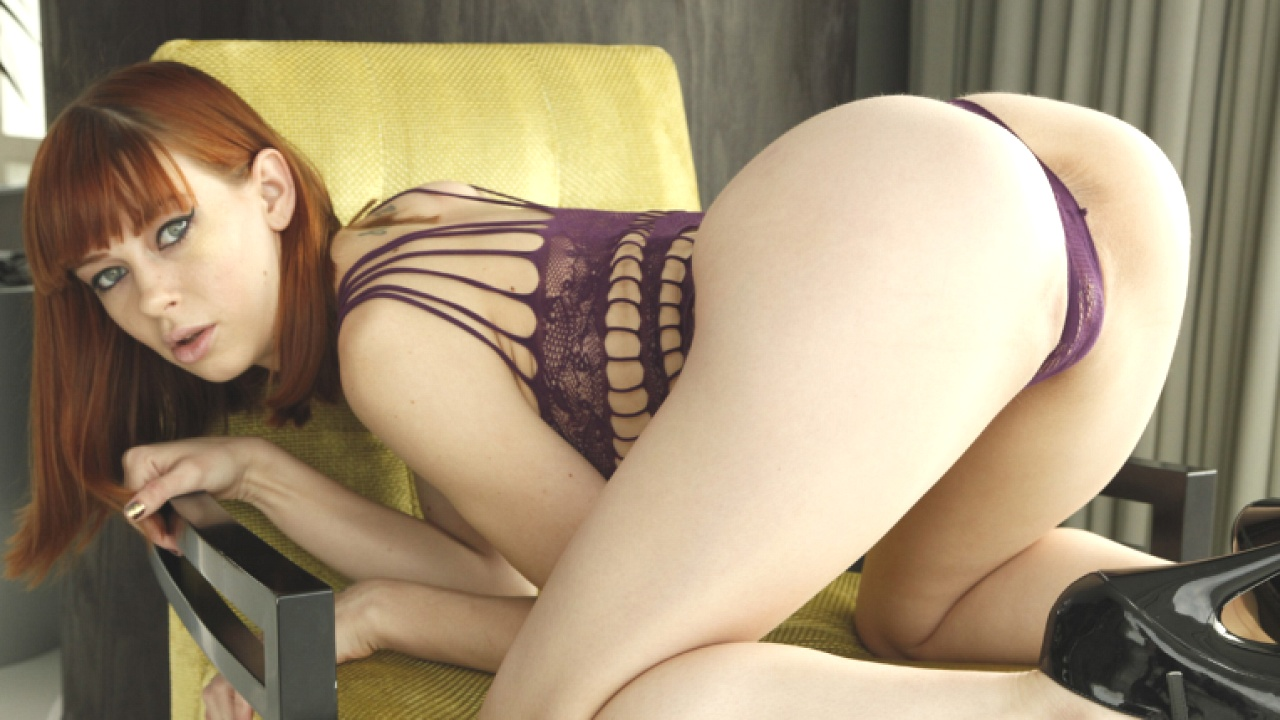 Stunning Redhead Loves Huge Cock Up Her Ass