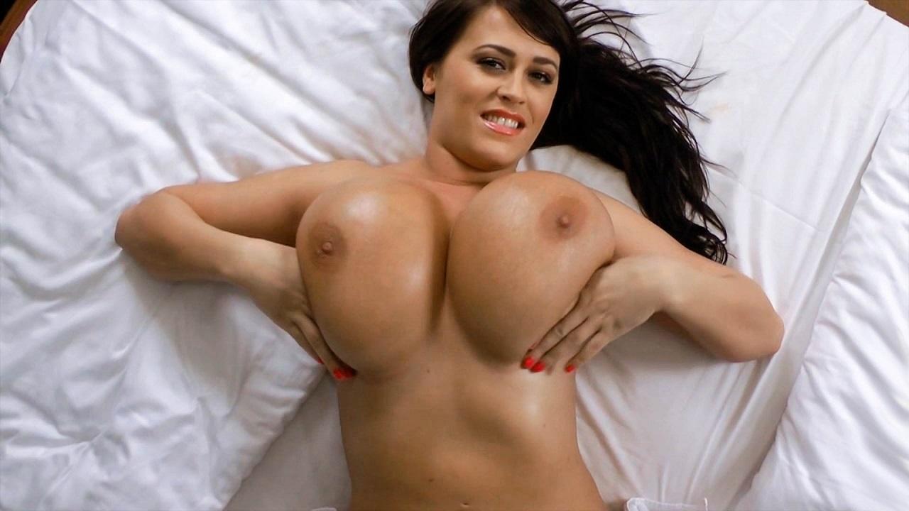 Sultry Brunette Oils Up Huge Titties