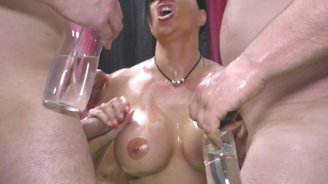 Tattoed Brunette In German Gangbang